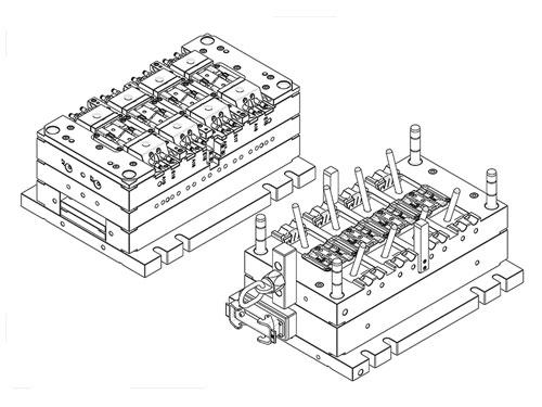 8-fach-Spritzwerkzeug mit Heisskanal und Schrägschieber