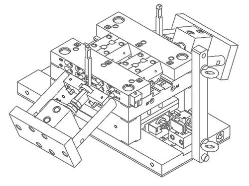 3-Platten-Spritzwerkzeug, 4-fach mit Heisskanal, Schrägschieber und Schiebern, die hydraulisch gezog