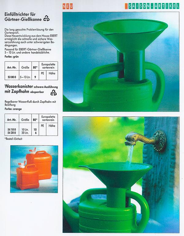 Gießkannentrichter im Katalog der Fa. Ebert