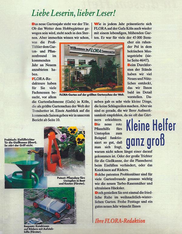 Gießkannentrichter in `FLORA´, Zeitschrift für den Garten