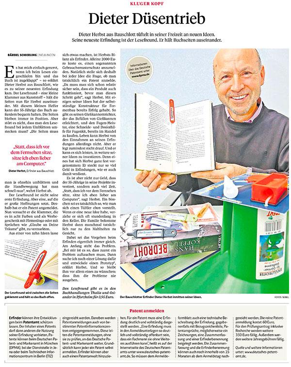 Bericht in der Pforzheimer Zeitung 2014